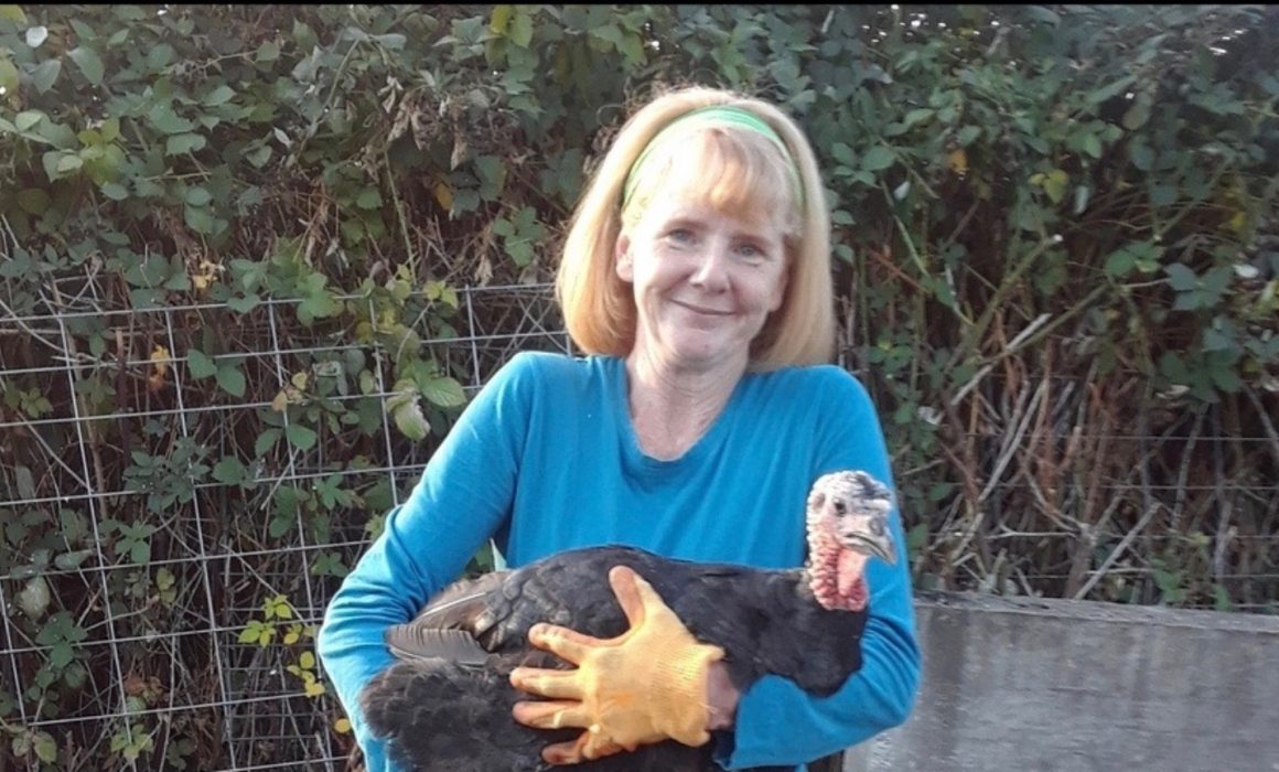 Chrissie Manion Zaerpoor with a turkey
